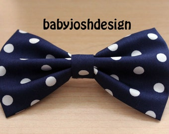 Navy With White Dot Fabric Hair bow for teens or women,girls hair bows,basic hair bows , Hair Bows