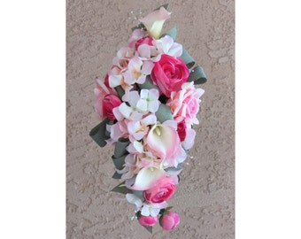Pink Calla Bouquet Bridal Made to Order Rose Cascading Bouquet Made to Order