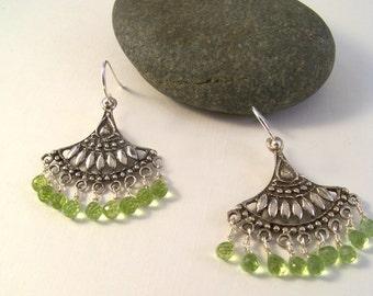 Sterling Silver & Peridot Dangle Earrings-Gemstone Jewelry-Nature Inspired-Peridot