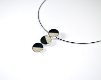 Sterling Silver Pendant, Divided Circles, Geometric, Black, White, Modern, Contemporary, Necklace