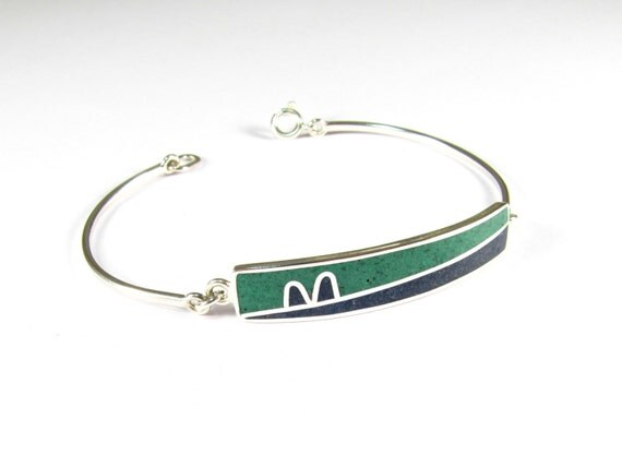Sterling Silver Bracelet, Blue, Green, Modern, Contemporary, Minimal, Colorful