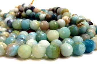Full Strand 6, 8, 10 and 12 mm Natural Amazonite - Faceted Round Beads 1.2 mm hole (G2158AZ38-BH6M)