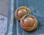 Vintage Glass Buttons - Tan Shank Pair Lot 548