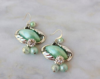 Sea - Foam - Green Rhinestone Drop Earrings Vintage Jewelry OOAK