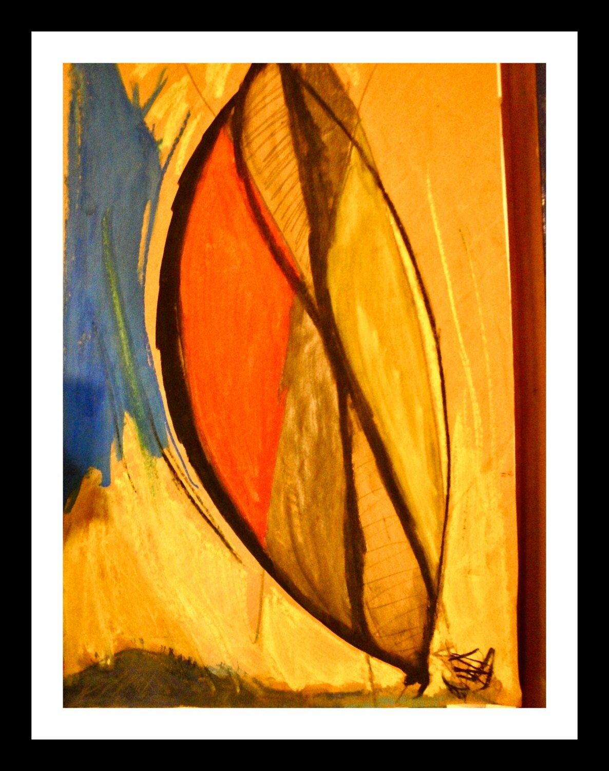 Wall Of Light Orange Yellow : abstract painting yellow orange blue wall decoration