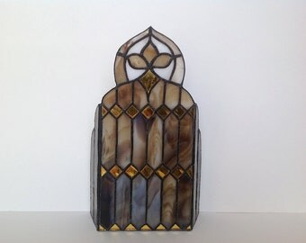 Hand Made Stained Glass Art Candle Holder/Stained Glass Window Art/ Stained Glass Suncatcher
