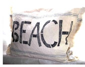 Shabby Chic Cottage Beach house pillow, Flour Sacking