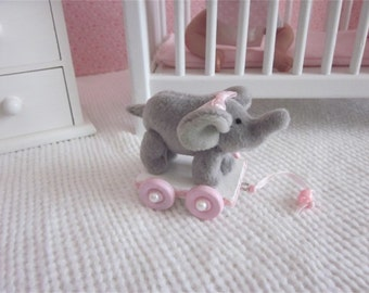 """Small elephant pull toy for 5""""-10"""" mini baby dolls, you pick color"""