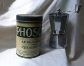 french Vintage tin,  metal, breakfast, container, french writing, antique, home decoration, kitchen art,