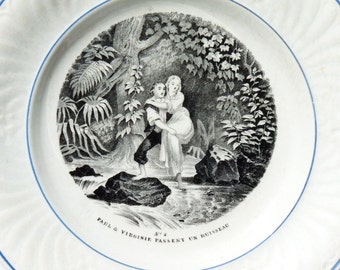 Antique French Creil and Montereau Decorative Plate - 1834 - No 4 Paul et Virginie Passent un Ruisseau - LM & Cie