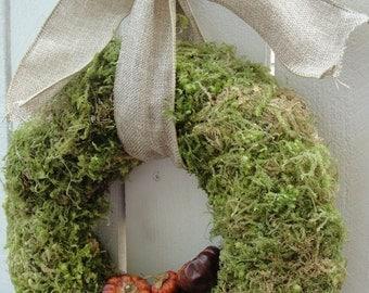 Moss Wreath  Pumkin Wreath  Dried  Pumpinos    Moss Wreath    Autumn Wreath    Fall Decor   Hand Crafted Wreath  Home Decor