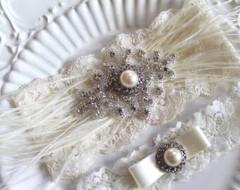 Bridal Rhinestone applique Ostrich Feather garter set.  Gatsby Ivory stretch lace Pearl/Crystal wedding garter. FEATHER N CRYSTAL