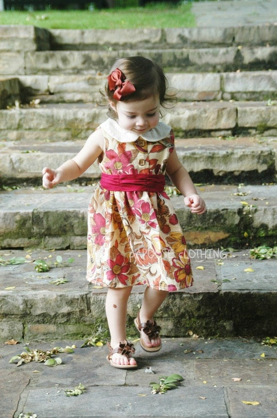 Floral Fall Dress with Peter Pan Collar and Red Sash by Papoose Clothing