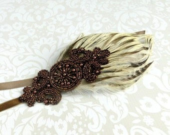 Bronze Beaded Headband, 1920s Headband, Flapper Headpiece, Womens Accessories Flapper Headband