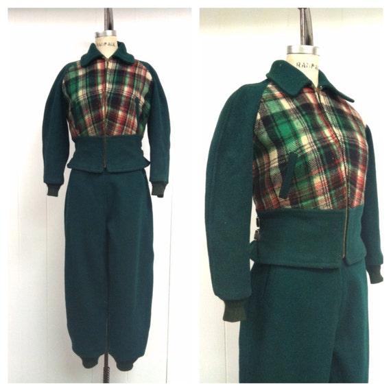 1940s Ski Suit Wool 40s Green Plaid