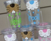 Easter bunny personalized acrylic tumbler with lid