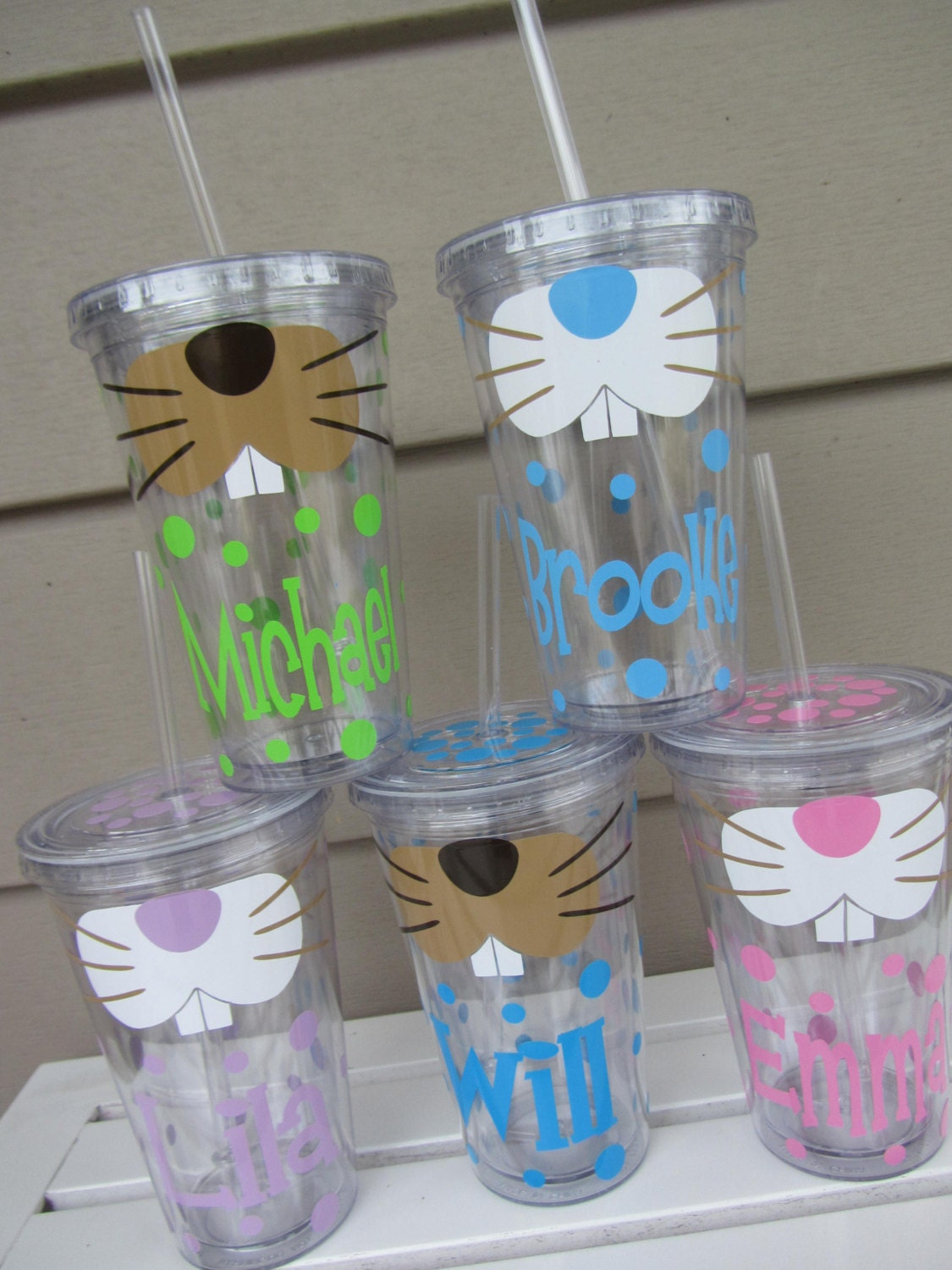 Easter Bunny Personalized Acrylic Tumbler With By