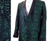 Mens Vintage Tuxedo Jacket. 1960s Skinny Lapel Iridescent Green Brocade Dinner Jacket.  43 - EndlessAlley