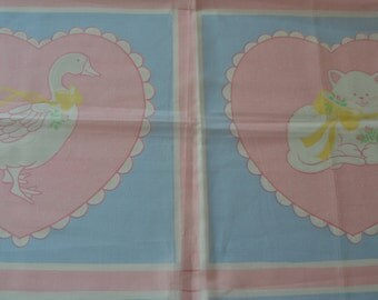 Vintage Baby Blanket Fabric Panel 1 1/4 yards