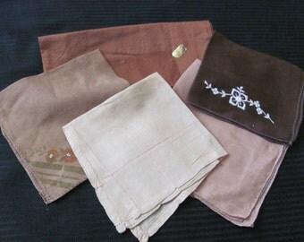 Lot of 6 Assorted Brown Linen Cotton Hankies