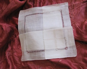 Beautiful Solid White Drawn Work Cotton Hankie Handkerchief - Unused NOS