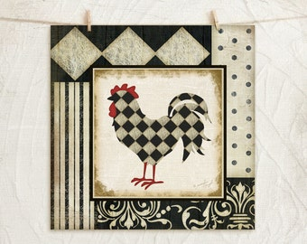 Classic Rooster III 12x12 Art Print -Country, Kitchen Wall Decor -Decorative Patterns -Black, White, Red, Tan
