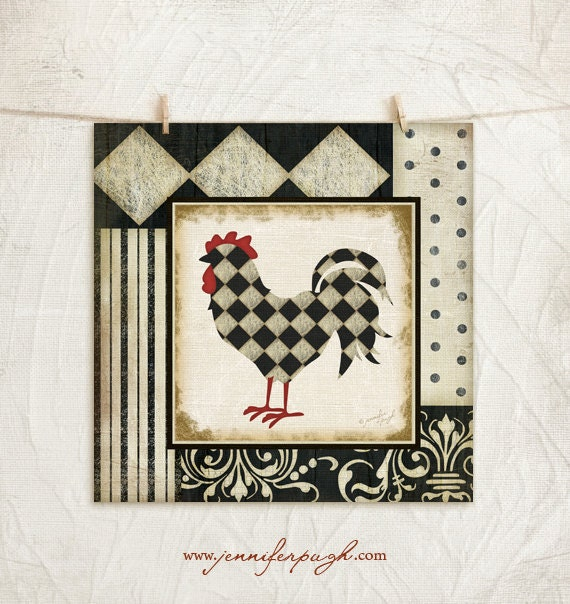 Red Country Wall Decor : Classic rooster iii art print country kitchen wall