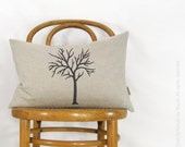 12x18 lumbar pillow cover, Cottage chic decor, Tree pillow case | Dark brown tree in natural and houndstooth back | Neutral Rustic Decor