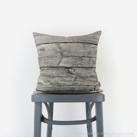 Reclaimed Wood Grain Pattern Cushion cover | 18x18 Black and Neutral Beige Barnwood Decorative Pillow Case | Modern Rustic Drift Wood Pillow