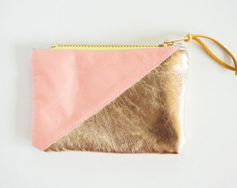 Color block gold leather and light salmon purse / change wallet