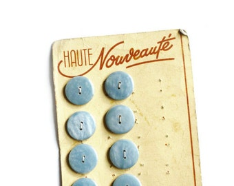 5 Vintage Marbled Light Blue Buttons, Made in France