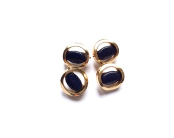 4 Navy & Gold Metal Vintage Buttons