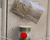Avacado and Red Vintage Wooden Spool with Hearts Wire Sculpture Photo Card Business Card Art Holder