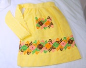 Vintage Apron Yellow White Gingham Checked Embroidered Flowers Farm House