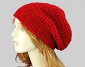 Chunky Red Slouchy Hipster Beanie Hat, Crochet Fashion Accessories