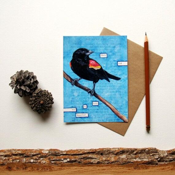 Blackbird Postcard - Blackbird Print - Illustrated Red Winged Black Bird Postcard - Black and Bold - Bird Art Print - Blackbird Art Print