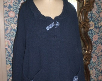 Cotton knit jacket Ready to Ship Size Medium Artsy Comfortable Cotton Waffle Knit Jacket with Raglan Sleeves in Blue