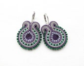 Purple and Green Earrings Light Purple Earrings Emerald Green Earring Big Round Earrings Soutache Earring Big Dangle Earring Big Drop Earing