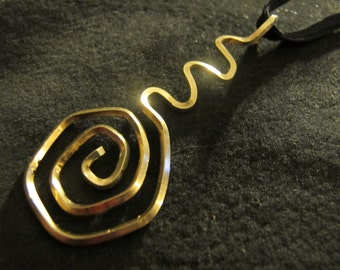 Pendant necklace abstract gold wire wrapped
