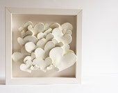 CREAM HEARTS, framed ceramic tile, valentines day gift, engagement gift, wedding present, anniversary. elegant, delicate, neutral wall decor