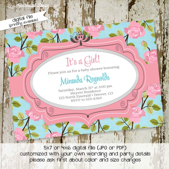 floral baby shower invitation sprinkle sip and see high tea bridal shower couples birthday baptism evite (item 1350) shabby chic invitations