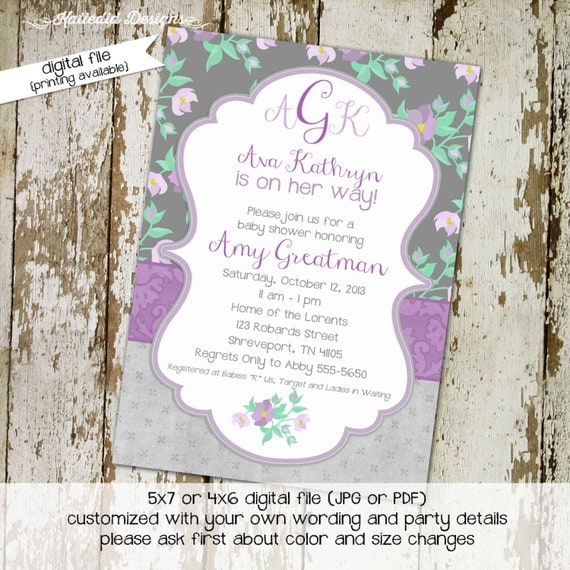 baby girl shower invitation monogram floral baby sprinkle diaper couples storybook twins baptism purple (item 1376) shabby chic invitations
