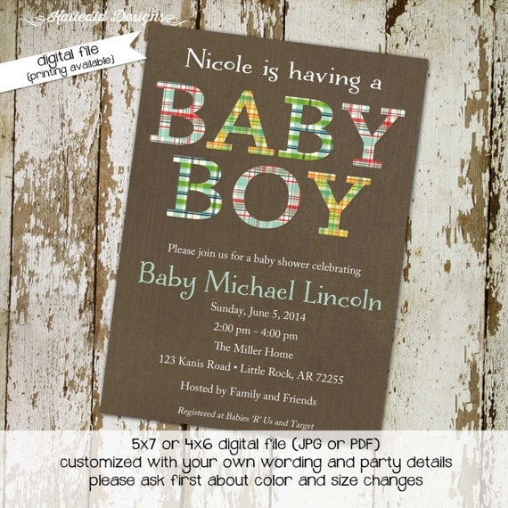 baby boy shower invitation plaid letters baptism birthday baby blessing couples diaper coed evite twins (item 1205) shabby chic invitations