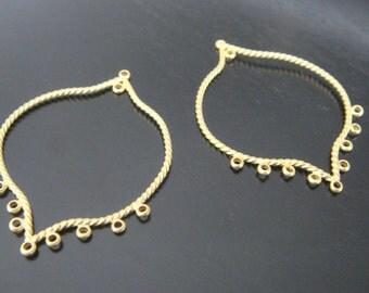 Matte Gold Chandelier Connector, Pendants, Charms, Earring Findings, 2 pc U59541