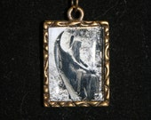 Tiny one inch rectangle Mourning necklace sad cemetery angel 24 in ball and chain necklace Dr. Who