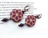 Purple geometric flower earrings, polymer clay millefiori pattern, Boho ethnic chic long earrings, purple pink orange, artisan made jewelry