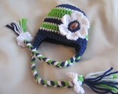 Seattle Seahawks inspired football hat for girl - Seahawks Baby Hat - football baby - baby girl football hat - seahawks hat