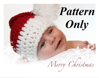 PATTERN ONLY (PDF), Crochet Santa Hat Pattern, (0-12 Month Sizes), Finished product can be purchased too