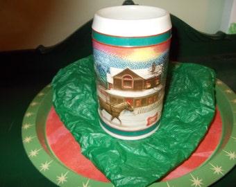 SALE-Miller Beer Stein / Holiday Mug / Christmas Winter Scene /1985- Miller High Life/ Beer Mug