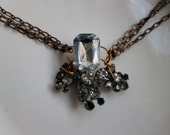 Mixed Metal Rhinestone Cluster Necklace